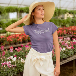 AwakeNAware.com-Awake-&-Aware-Girl-Posing-In-Front-of-Flowers-Wearing-Transcending-Goddess-TShirt