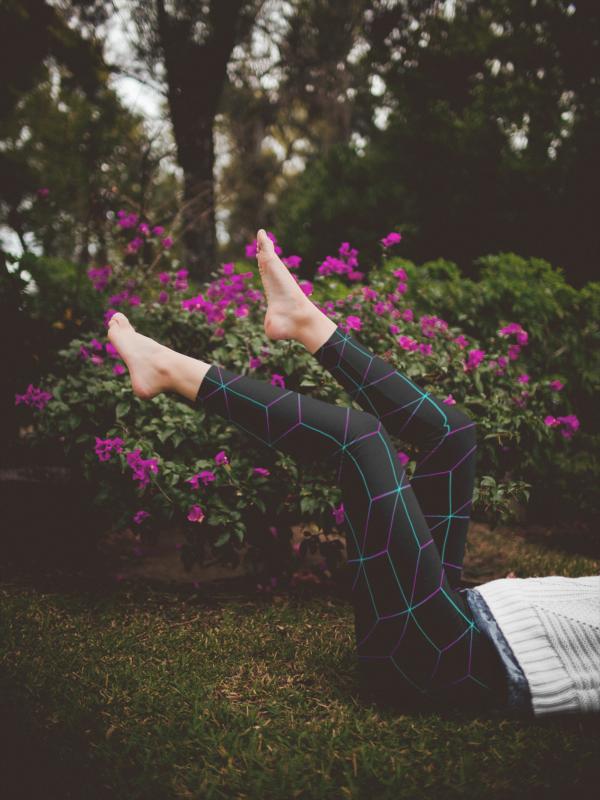 AwakeNAware.com Awake & Aware Legs Black Geometric Yoga Pants Mockup