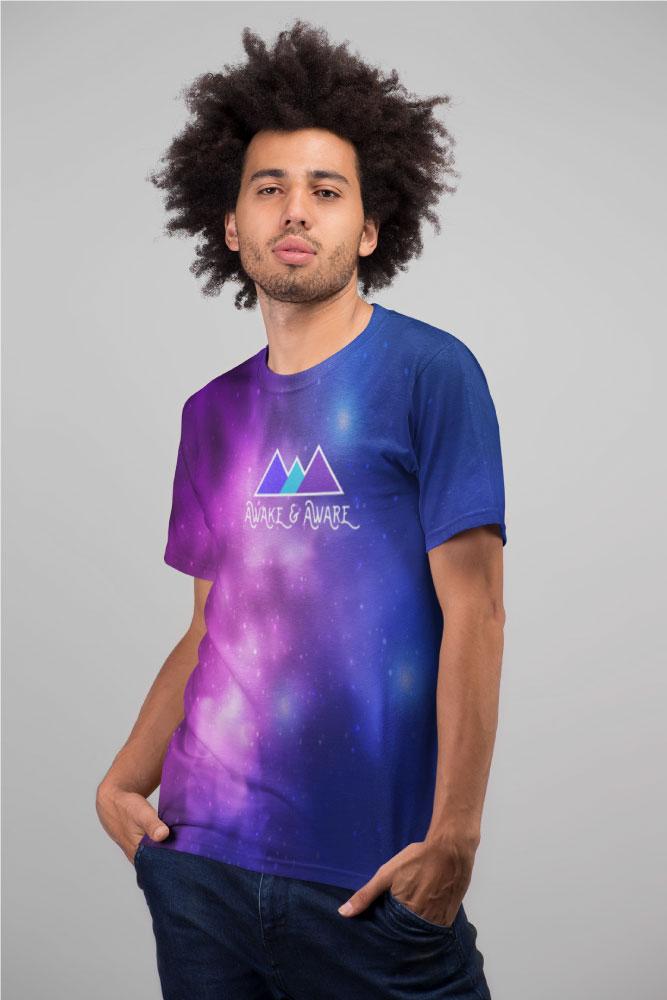 AwakeNAware.com-Awake-&-Aware-Relaxed-Guy-Wearing--Universal-Space-Unlimited-T-Shirt