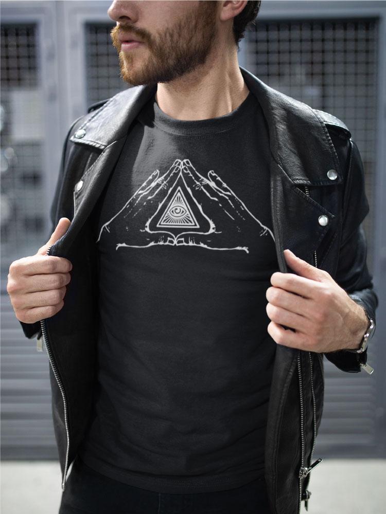 AwakenAware.com-Awake-&-Aware-Guy-Wearing-Benediction-Black-Blessings-TShirt-and-Leather-Jacket