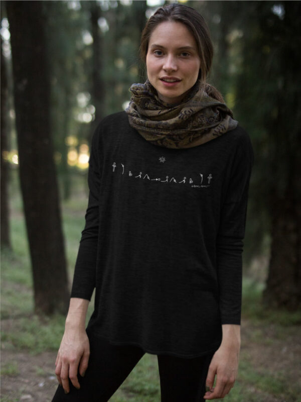 AwakenAware.com-Awake-&-Aware-Sun-Salutation-girl-wearing-a-bella-flowie-canvas-long-sleeve-tee-mockup-in-the-woods-a17921
