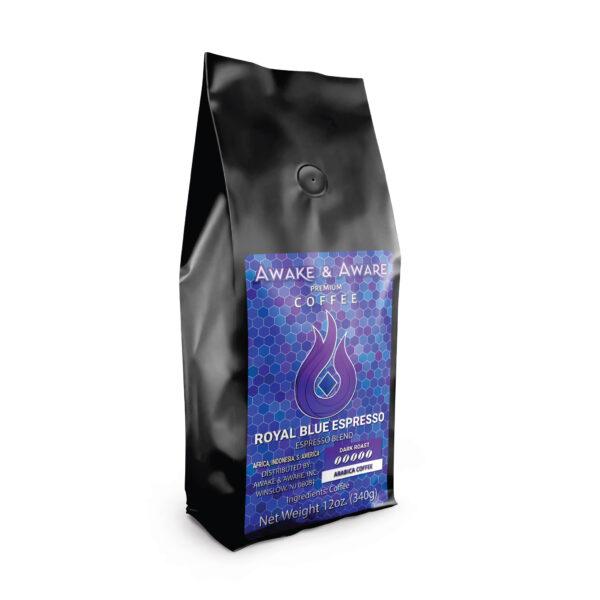 Awake-&-Aware-Royal-Blue-Espresso-(Africa,-Indonesia,-S.-America)-12oz-Espresso-Blend-Coffee-Bag-With-Label-1