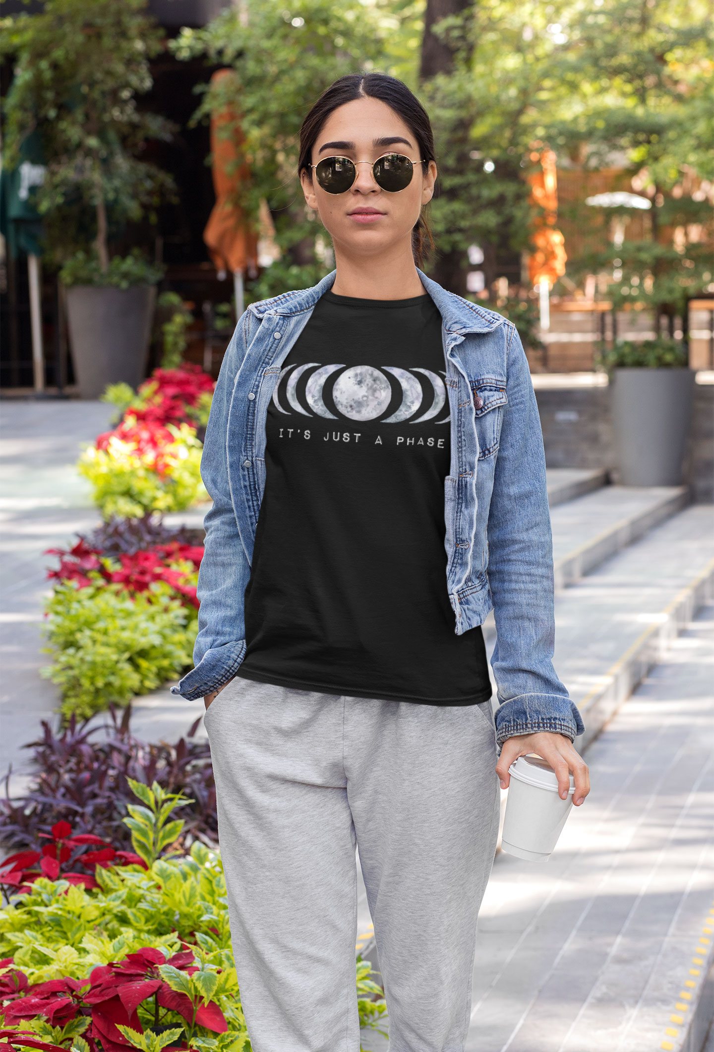 Awake-&-Aware-awakenaware.com-@awakenawareinc-Women-Wearing---Its-Just-a-Phase-Moon-Tee