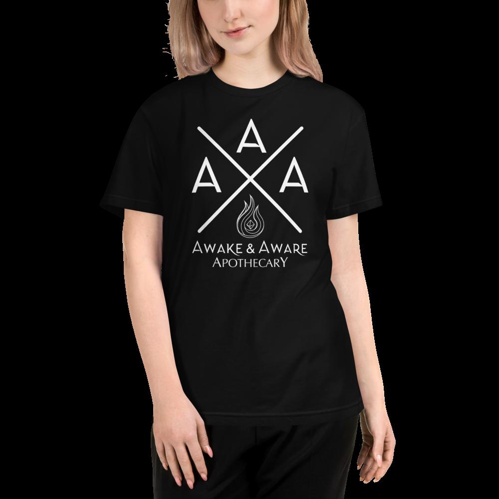 AwakenAware.com-Awake--Aware-Apothecary-Triple-A-(AAA)-Eco-Conscious-Unisex-Tee_unisex-eco-tee-black-front-60d628f7bd752